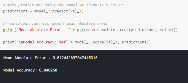 execution of an specific model