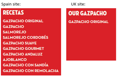 different advertised products in Spain and UK